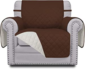 Easy-Going Sofa Slipcover Reversible Sofa Cover Water Resistant Couch Cover Furniture Protector Cover with Elastic Straps for PetsKidsChildrenDogCat(Chair,Coffee/Ivory)