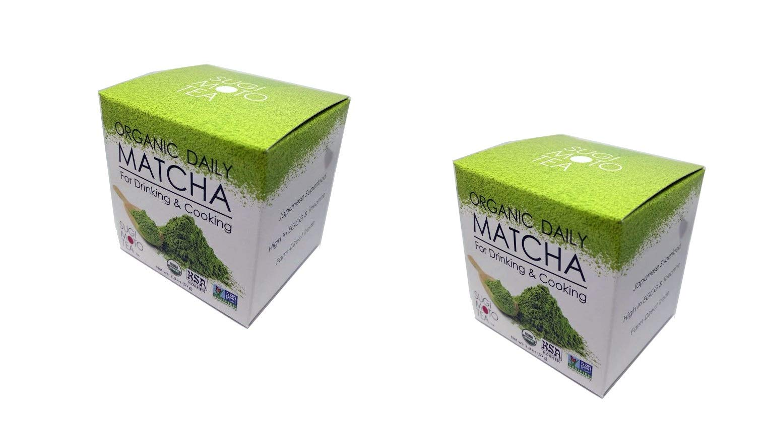 2 Pack of SA Japanese Green Tea Sugimoto Organic Daily Matcha for Drinking and Cooking, 2 Ounce