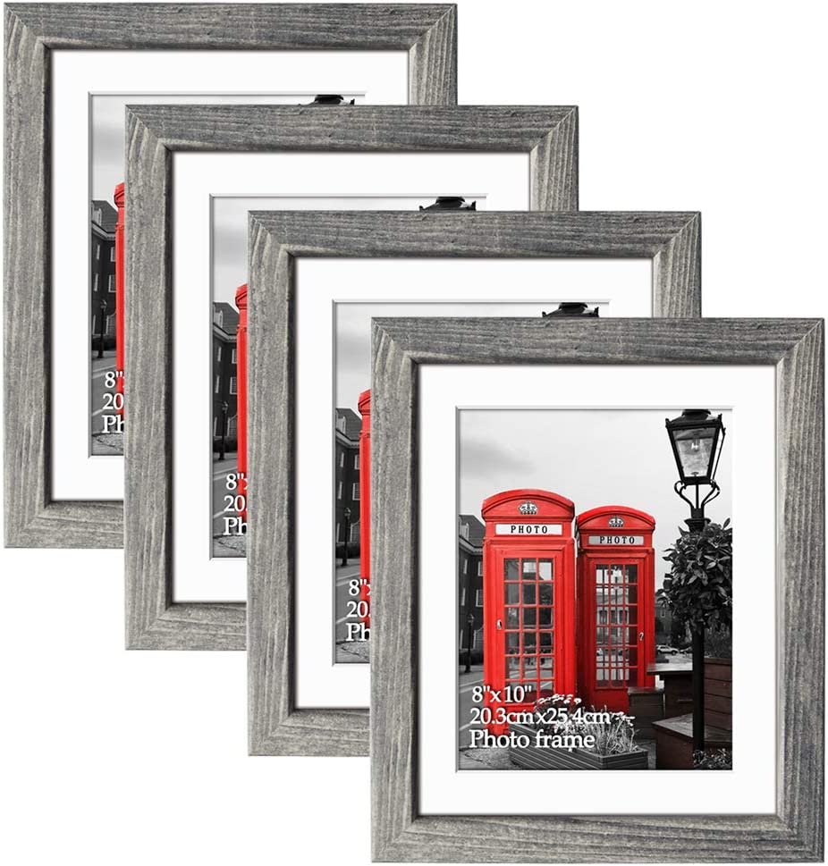 Edenseelake 8x10 Picture Frame Set of 4, Rustic Photo Frame for Tabletop or Wall Decoration, Grey