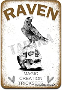 Raven Magic Creation Trickster Iron Poster Painting Tin Sign Vintage Wall Decor for Cafe Bar Pub Home Beer Decoration Crafts