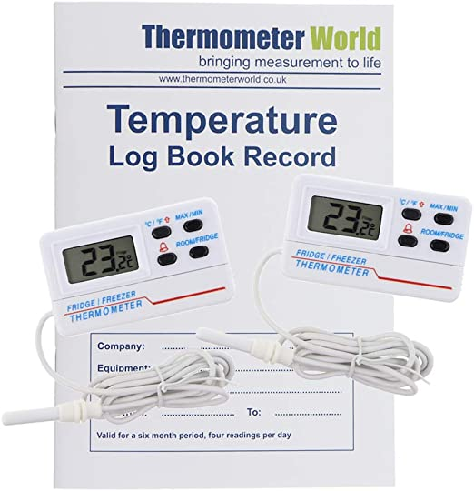 Libro de registro de temperatura con 2 termómetros digitales para ...