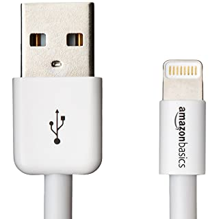 AmazonBasics Lightning to USB A Cable - MFi Certified iPhone Charger - White, 6-Foot