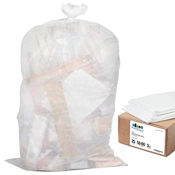 6f597464092 Plasticplace Contractor Trash Bags 55-60 Gallon │ 3.0 Mil │ Clear Heavy  Duty Garbage