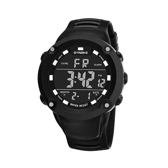 LONGQI WATCH - Reloj digital LED para hombre con cronómetro, color negro: Amazon.es: Relojes
