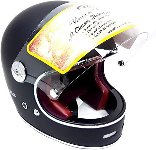 Viper F656 Fibreglass Helmet Full Face Motorcycle Helmet Classic Custom Chopper Bobber Retro Style Helmets Matt Black L Sport Freizeit