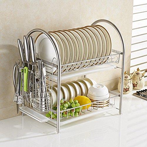 AWADUO Stainless Steel Kitchen Cabinet Dish Organizer Storag