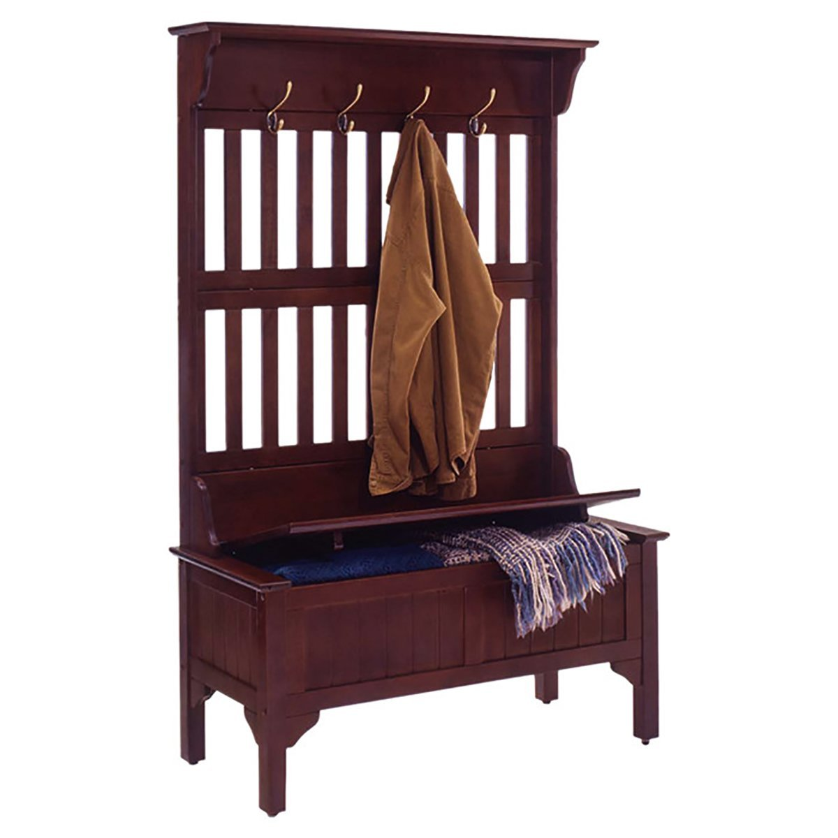 Cottage Style Hall Tree Storage Bench With Heavy Duty Brass Coat Hooks And Lacquer Finish plus FREE GIFT (Cherry)