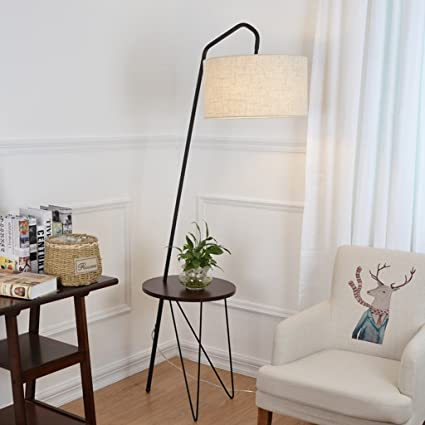 NAUY- Mesa de centro de madera maciza lámparas de pie Salón ...