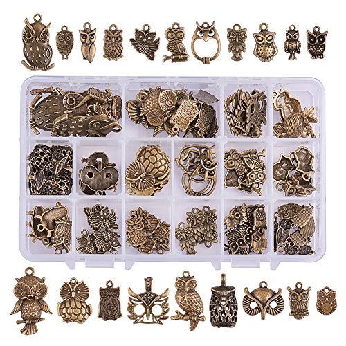 PH PandaHall 80pcs 20 Style Antique Bronze Tibetan Alloy Owl Charms Animal Charms Pendants Beads Charms for Halloween DIY Bracelet Necklace Jewelry Making]()