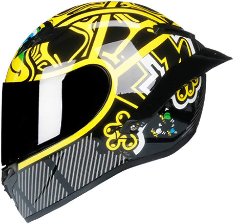 LJPHFF Casco Moto Integrale In Fibra Di Carbonio Casco Da Corsa Professionale Visiera Arcobaleno Motocross Touring Fuoristrada
