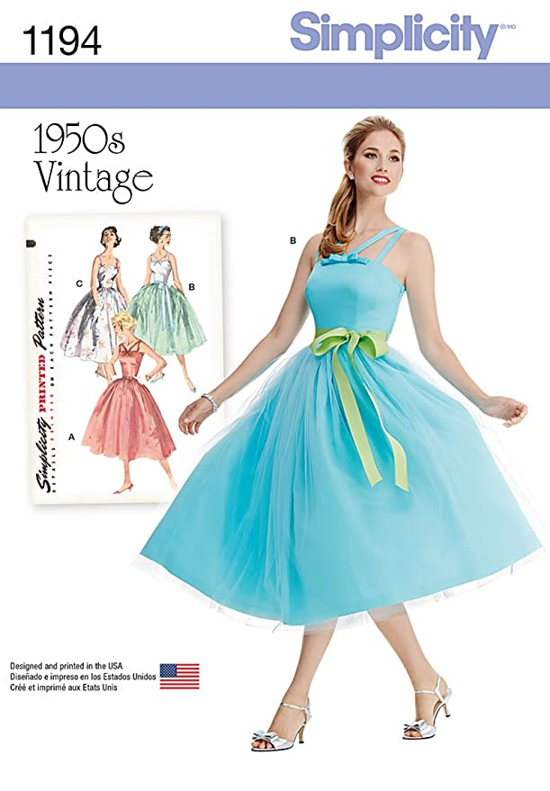 1950s Sewing Patterns | Dresses, Skirts, Tops, Mens Simplicity Creative Patterns 1194 Misses and Miss Petite Vintage Dress H5 (6-8-10-12-14)  AT vintagedancer.com