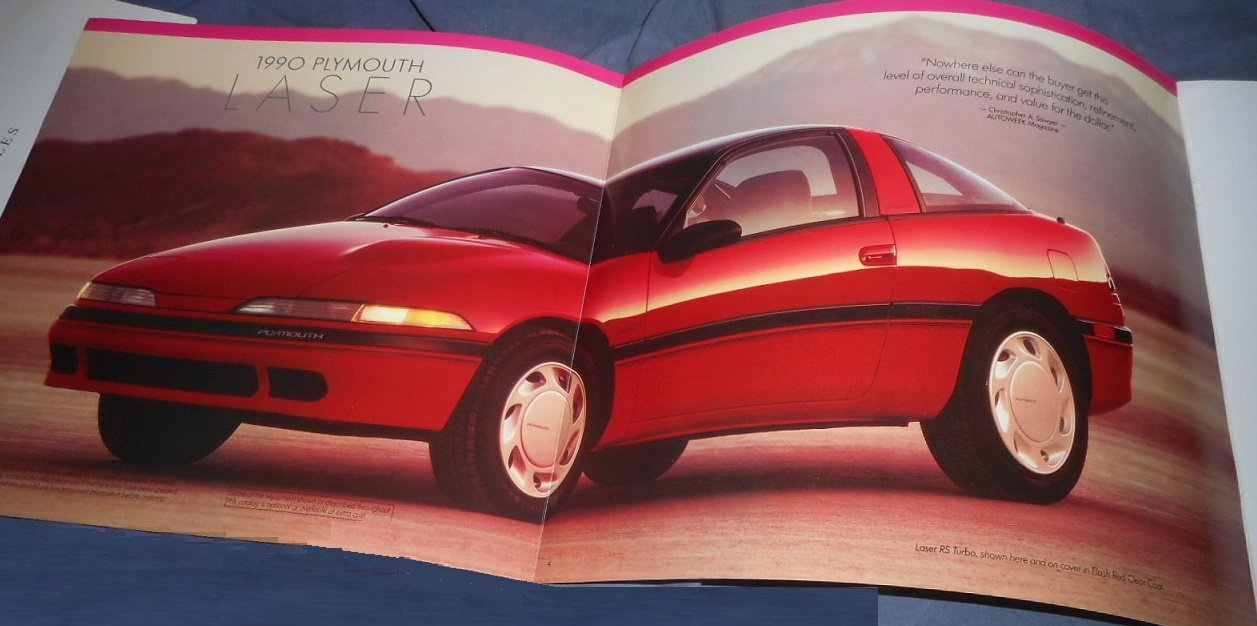 Amazon.com : 1990 PLYMOUTH LASER, LASER RS & LASER RS TURBO VINTAGE PRESTIGE COLOR SALES BROCHURE - 11/89 - USA - GORGEOUS ORIGINAL!! : Everything Else