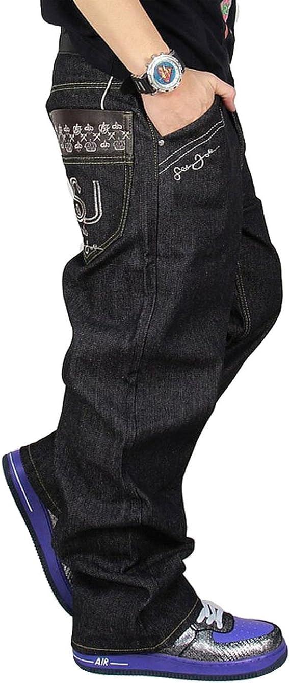 Crazy Mens Loose Hip-hop Embroidered Printed Baggy Denim Jeans
