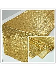 zdada 12 x72 inch rectangle gold sequin table runner for wedding