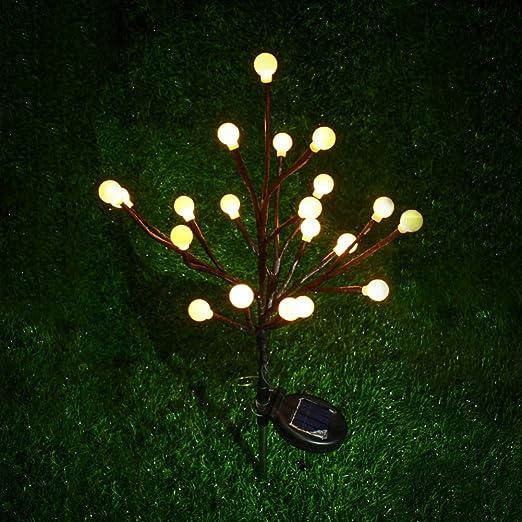 Yalatan 20 LED Solar Jardín Luz al Aire Libre Artificial Rama Lámpara Decorativa Hada Luz para Jardín, Patio, Patio: Amazon.es: Jardín