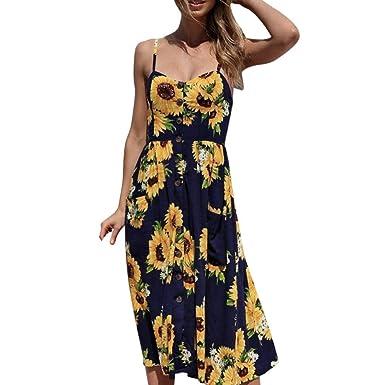 097e7da5837e Fullfun Women Dresses Summer Floral Spaghetti Strap Button Down Swing Midi  Dress (Navy