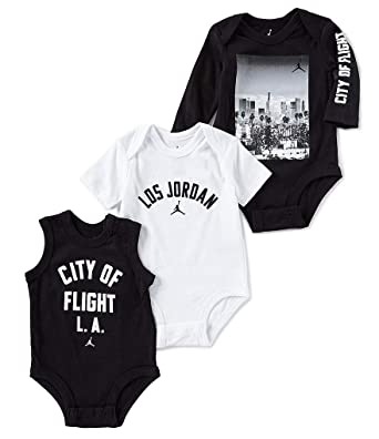 2bee872fe4a50a Image Unavailable. Image not available for. Color  Nike Air Jordan Baby  Boys 3 Piece Flight Bodysuit Set ...