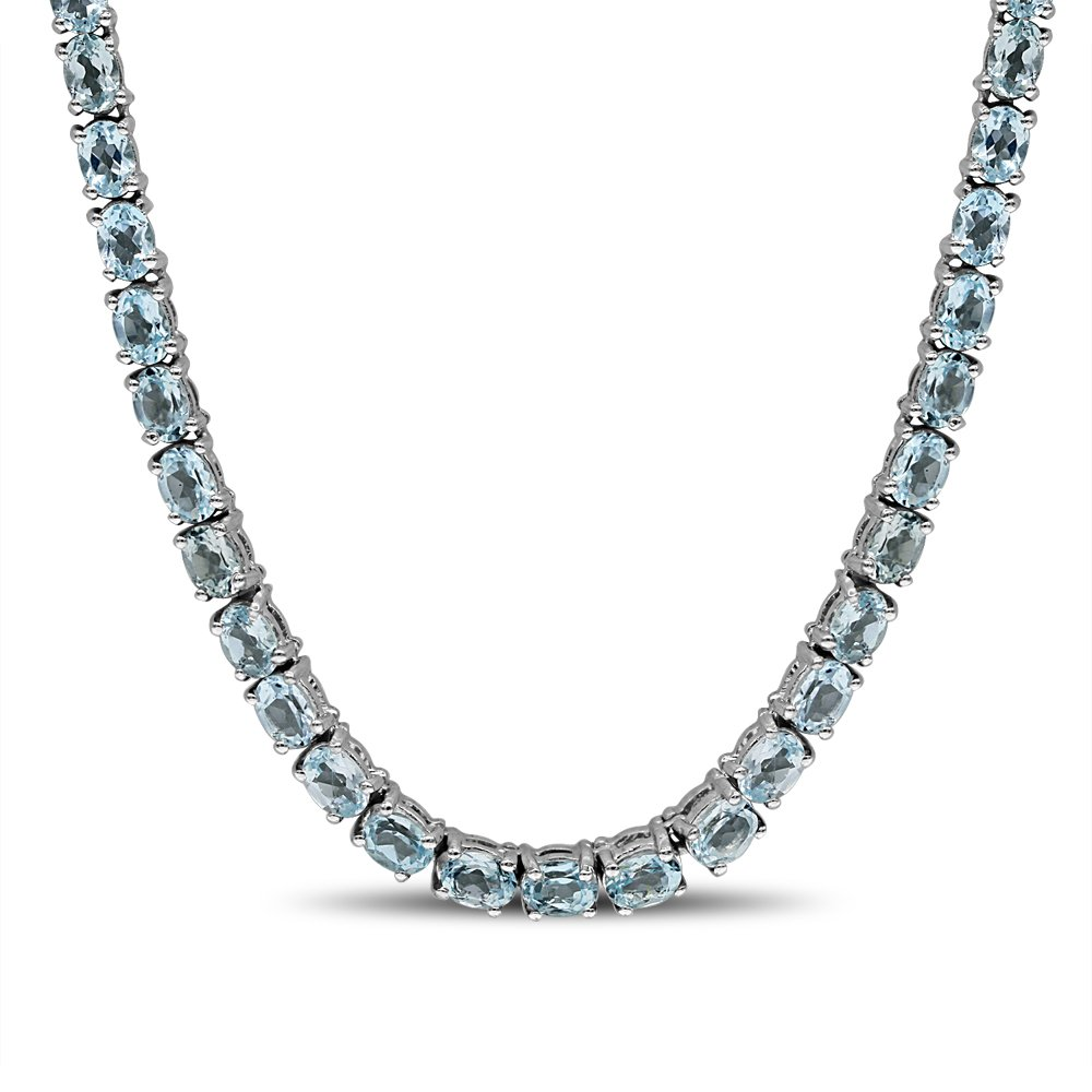 Fine Sky Blue Topaz Necklace in Sterling Silver