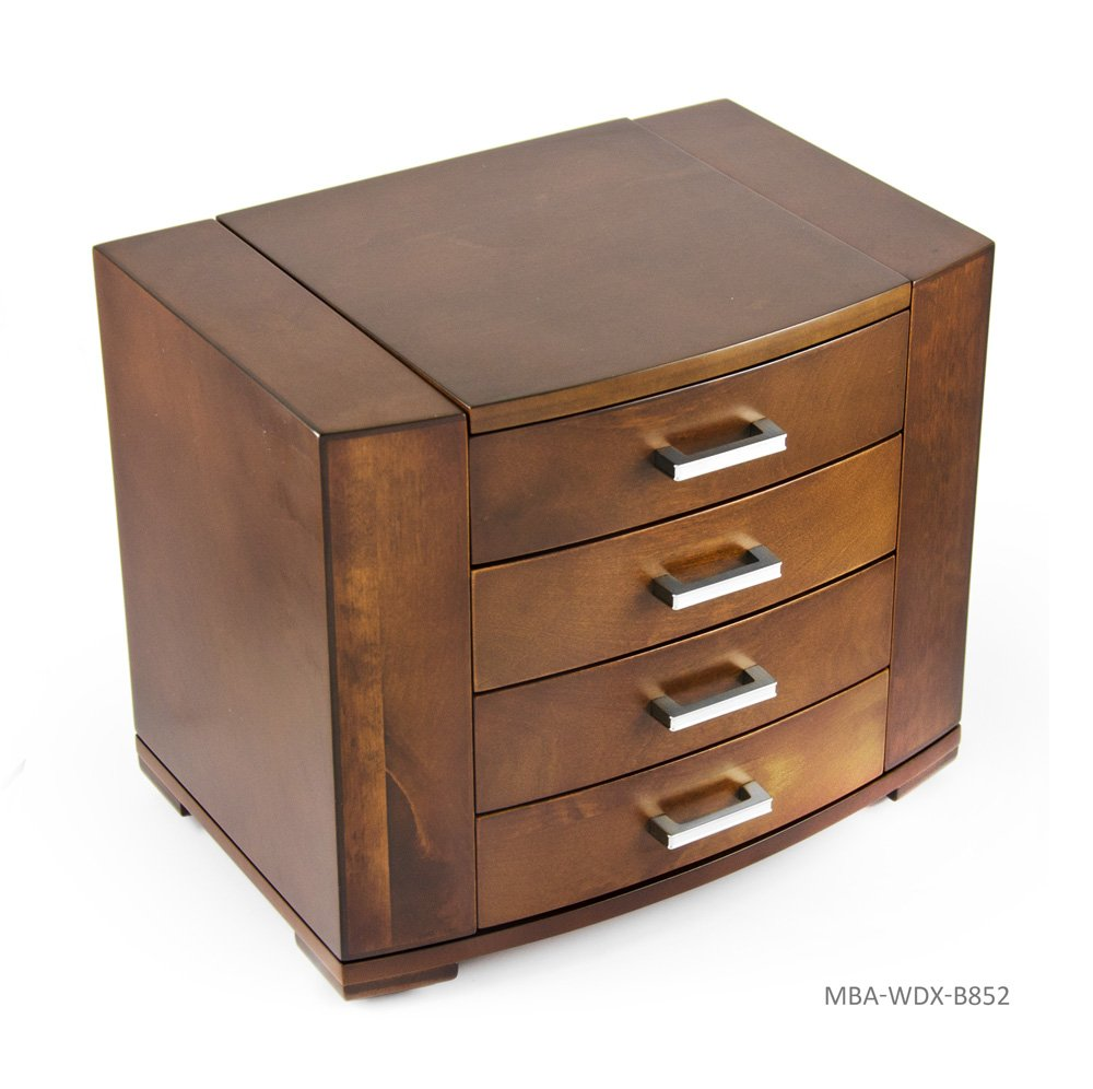 Stunning 18 Note Grand Modern Natural Wood Tone Musical Jewelry Box with Silver Hardware - There is No Business Like Show Business