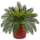 Nearly Natural Cycas Artificial Plant in Planter, Green
