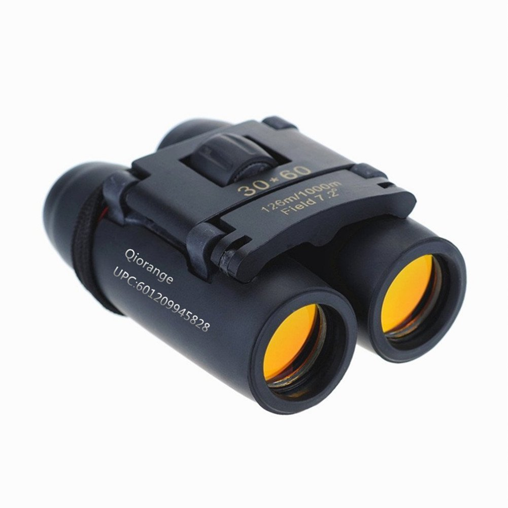 Qiorange Outdoor Lightweight & Durable Adjustable Mini 30x60 Folding Zoom Binoculars ,Travel Zoomwith Black Carry Bag and Clean Cloth