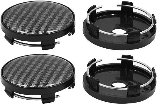X AUTOHAUX 4 Pcs Silver Tone Black 58mm Dia 5 Clips Wheel Tyre Center Hub Caps Cover for Car