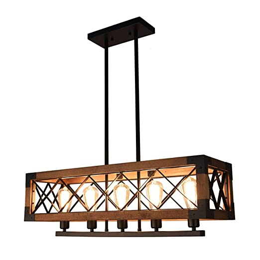 Oyipro Industrial Kitchen Island Light 5 Lights Chandelier Farmhouse Hanging Fixture Retro Ceiling Light Rectangular Rectangle Wooden Metal Caged