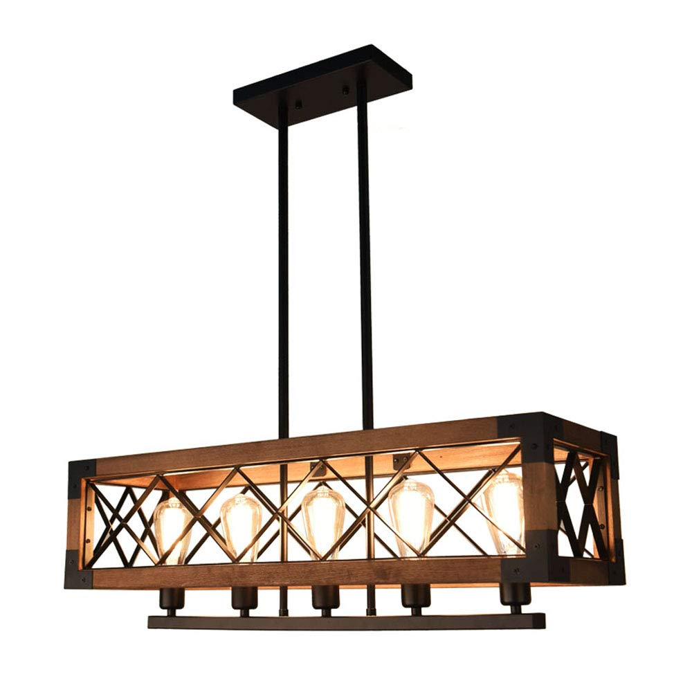 OYIPRO Industrial Kitchen Island Light, 5 Lights Chandelier Farmhouse Hanging Fixture Retro Ceiling Light Rectangular Rectangle Wooden Metal Caged Guard Pendant Lighting Available for Sloped Ceiling