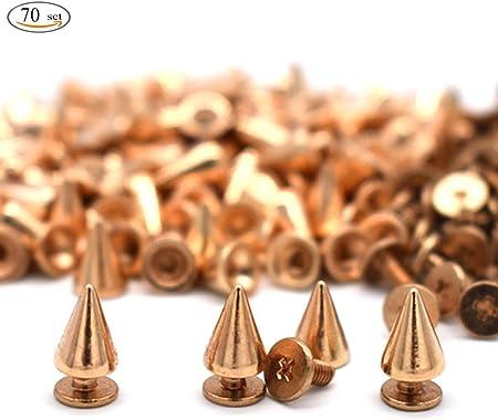 [Paquete incluido]: espárragos de espigas con cono de 70 piezas, color rosa dorado, altura-10 mm, di
