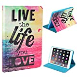 iPad Mini / Mini 2 Retina / Mini 3 Case,iBerry PU Leather Slim Cover with Stand Function and Smart Feature (Built-in magnet for sleep / wake feature) For Apple iPad Mini Tablet (Live the Life You Love)