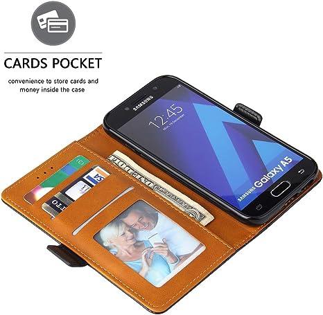 Bozon Étui portefeuille à rabat en cuir pour Samsung Galaxy A5 2017 avec support et emplacements pour cartes et fermeture magnétique Noir