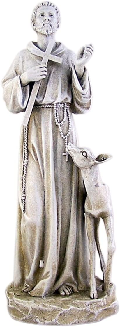 Saint Francis of Assisi with Deer Resin Home Garden Statue, 14 Inch