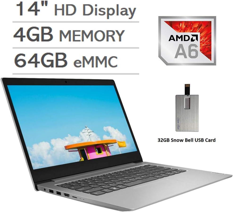 "2020 Lenovo IdeaPad 1 14"" HD Display Laptop Computer, AMD A6-9220e Processor, 4GB RAM, 64GB eMMC, AMD Radeon R4 Graphics, HDMI, Stereo Speakers, Windows 10 S, Gray, 32GB Snow Bell USB Card"