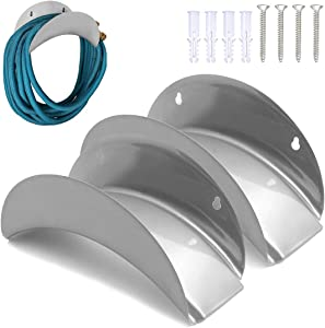 LUEXBOX Water Hose Holder, Hose Holders Organizer for Outside Can Accommodate Large Hoses, Wall Mount Garden Hose Holder Hanger for Storage Waterhose (2 Pack)