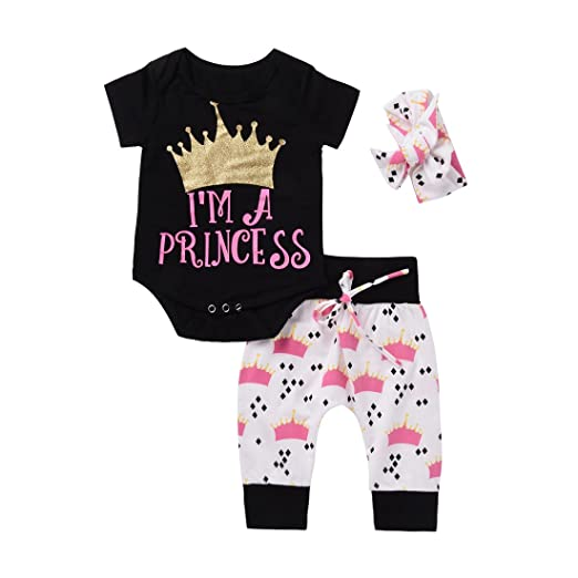 446b0072f90 Imsmart Cute 3pcs Newborn Infant Baby Girls Romper+Pants+Headband Legging  Home Outfits Set