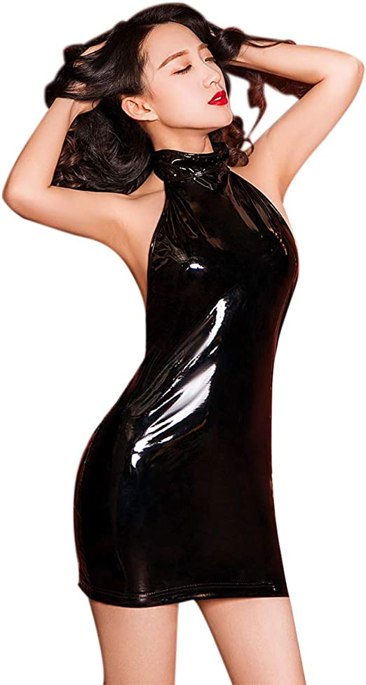 CLICKTOFASHION Woemns Ladies Girls Vinyl PVC Wet Look Shiny Dress Top New with Tag