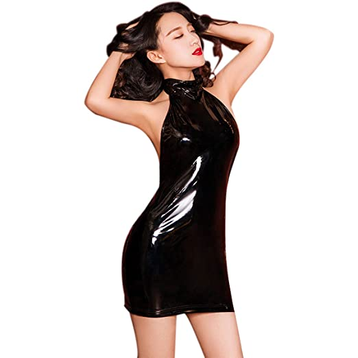 adadb790eb0 Sexy Women Metallic Wet Look Bodycon Halter Neck Backless Mini Dress PVC  Vinyl Shiny Party Night