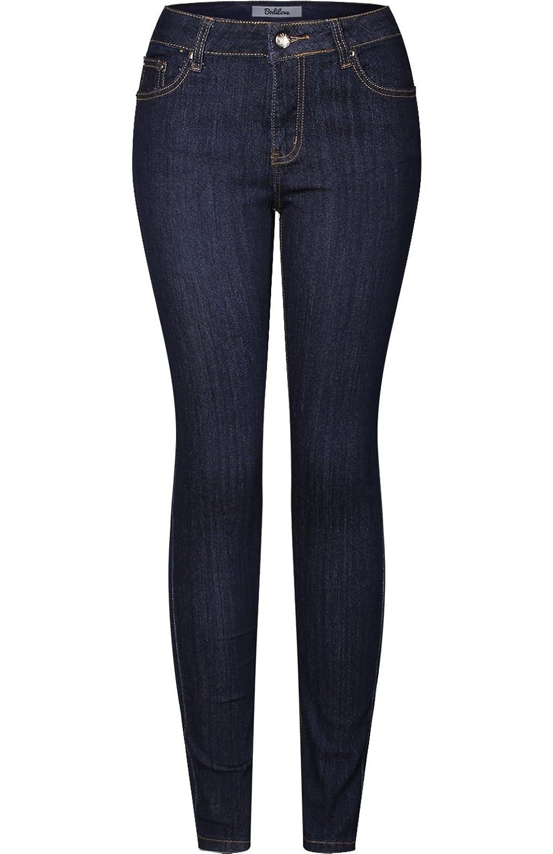 2LUV Women's Stretchy 5 Pocket Dark Acid Wash Skinny Jeans