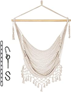 Prime Garden Mesh Hammock Net Chair Swing, Hanging Rope Netted Soft Cotton Hammock Chair Swing Seat Porch Chair for Yard Bedroom Patio Porch Indoor Outdoor, 265 lbs Weight Capacity, Beige