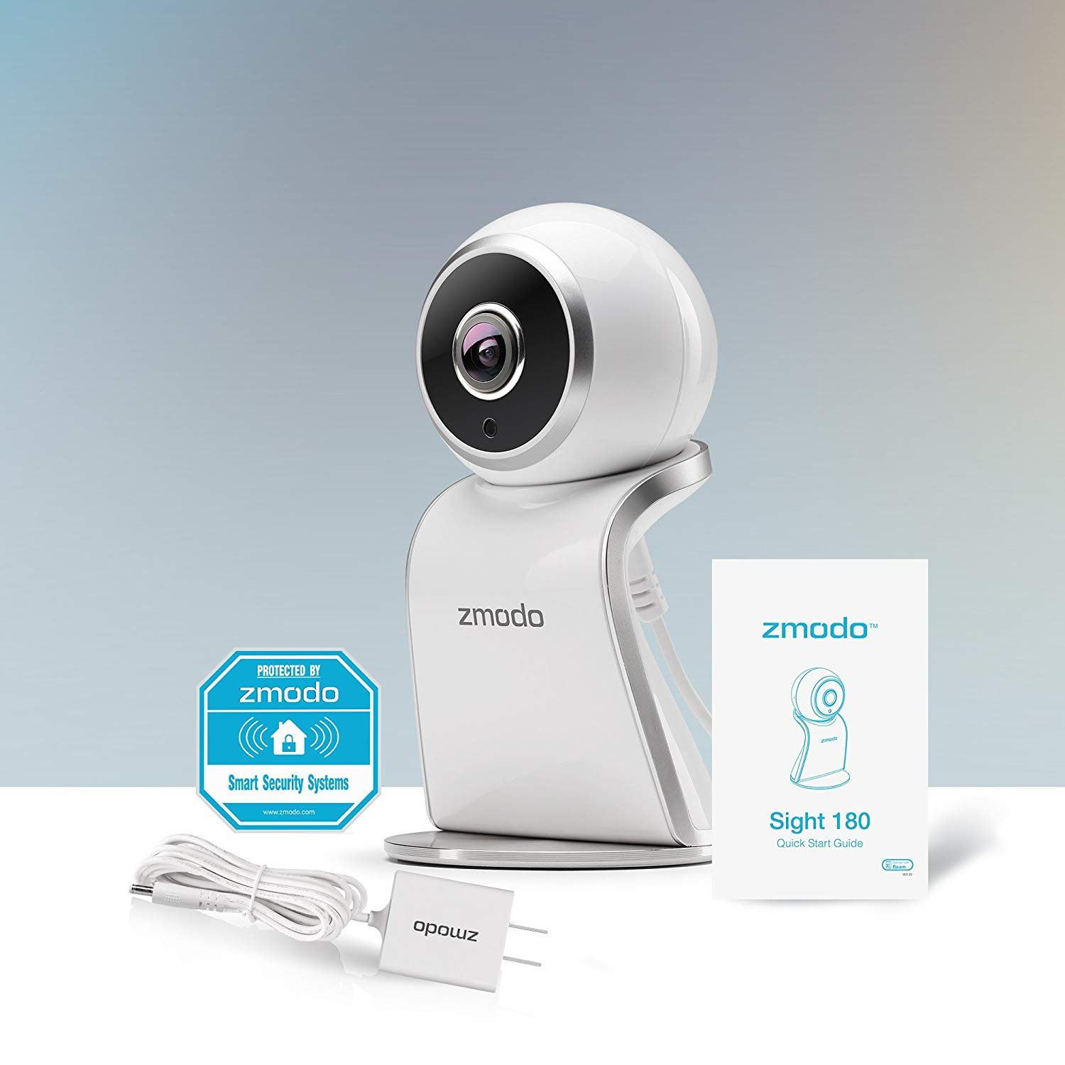 Zmodo Sight 180 Home Security Camera, Full HD 1080p Wireless Indoor IP Camera System with 180 Degree Viewing Angle, Two Way Audio, Night Vision, Motion Detection, Compatible with Alexa - 2 Pack by Zmodo