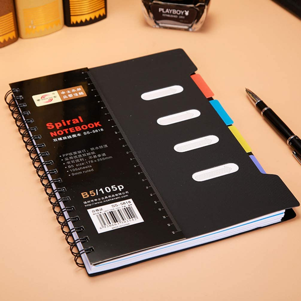 Wirebound Spiral Notebook College Ruled Journal Note Pads with Divider Subject Notebooks Colorful School Stationery Office Supplies Black 2pcs