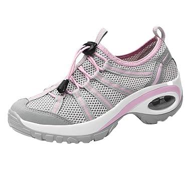 5d2ddeae8a188 Women's Leisure Mesh Wear Resistant Lace-Up Non-Slip Sport Shoes ...