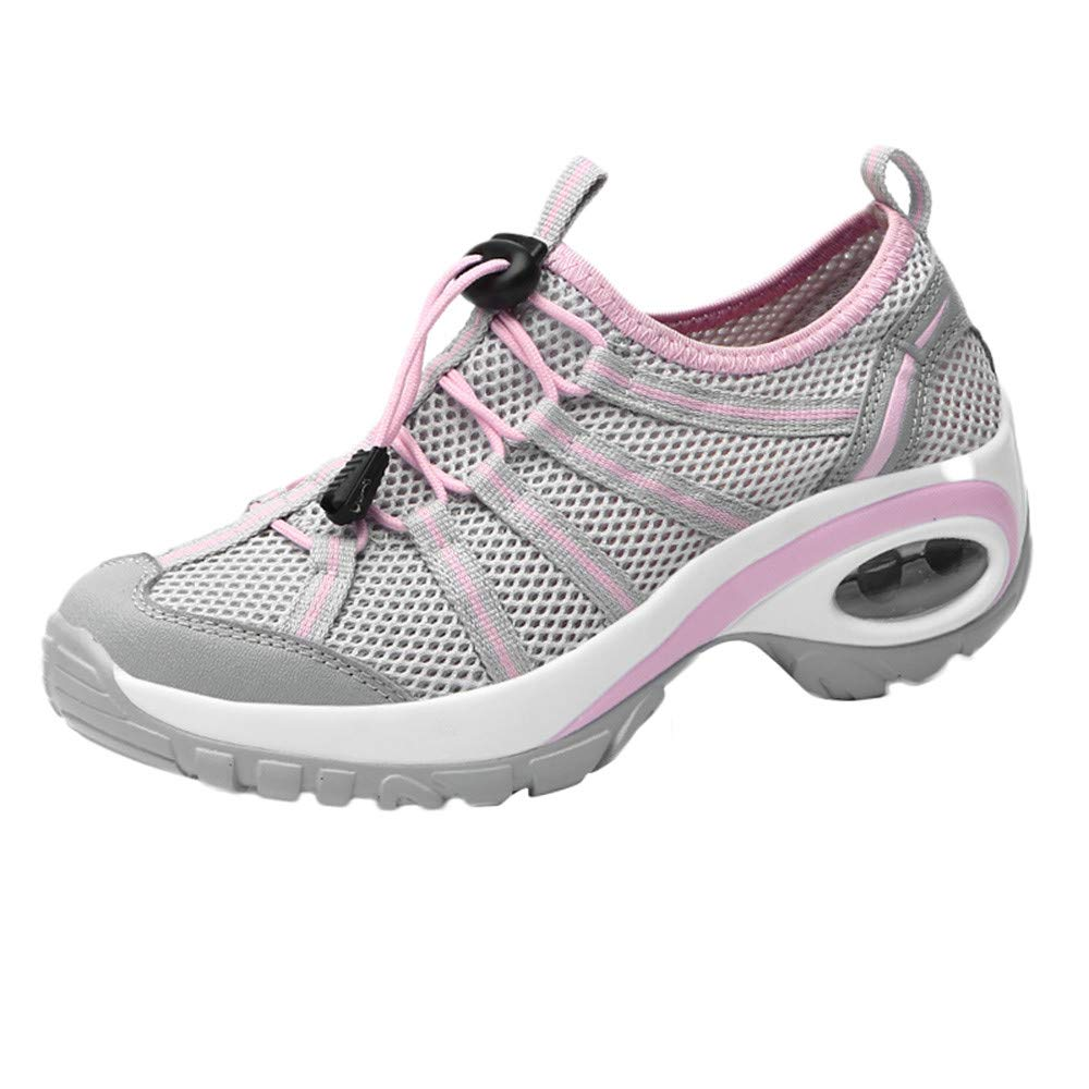 Women's Mesh Wear Resistant Sneakers, Lace-Up Non-Slip Sport Shoes Flat Leisure Sneakers (5.5, Gray)