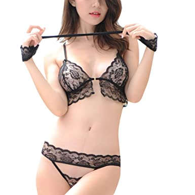 a0de1cc2f Women s Sexy Soft Lace Lingerie Set See Through Underwear Floral Lace  Underwire Bra and Panty Set