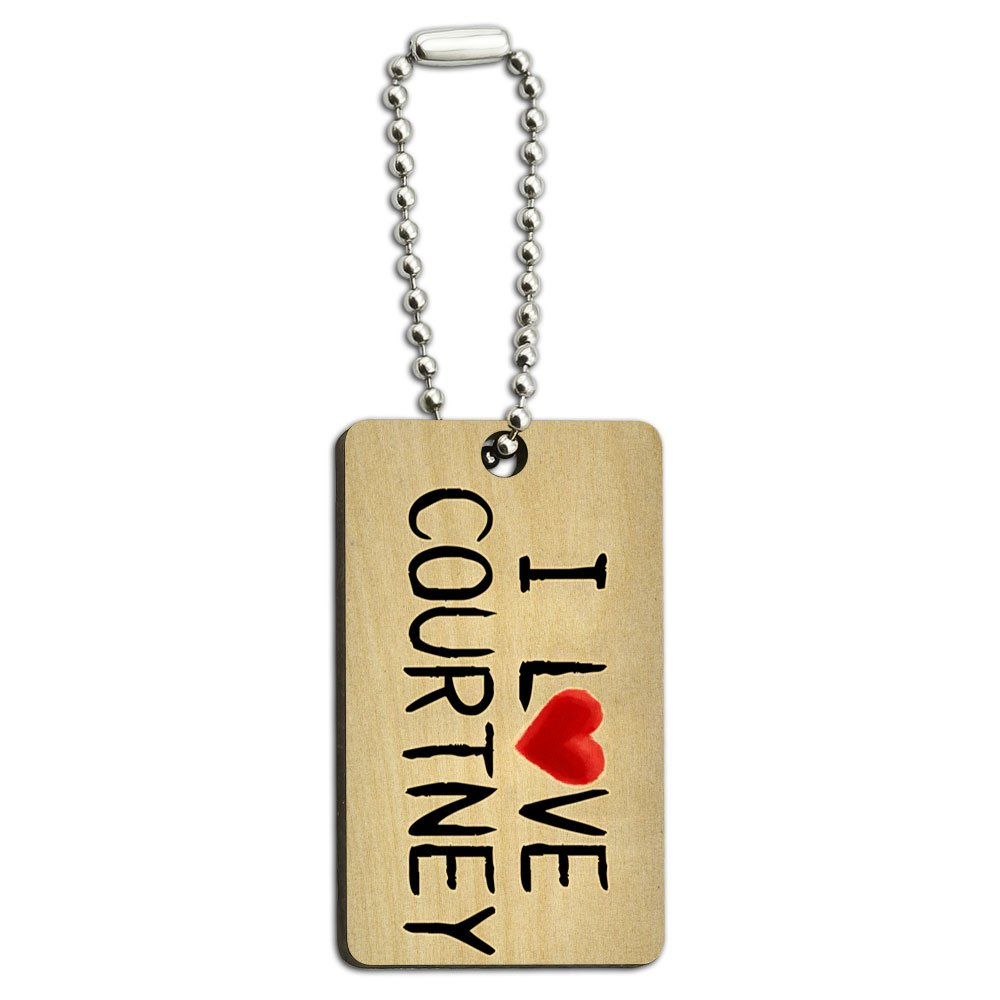 Graphics and More I Love Courtney Written on Paper Wood Wooden Rectangle Key Chain
