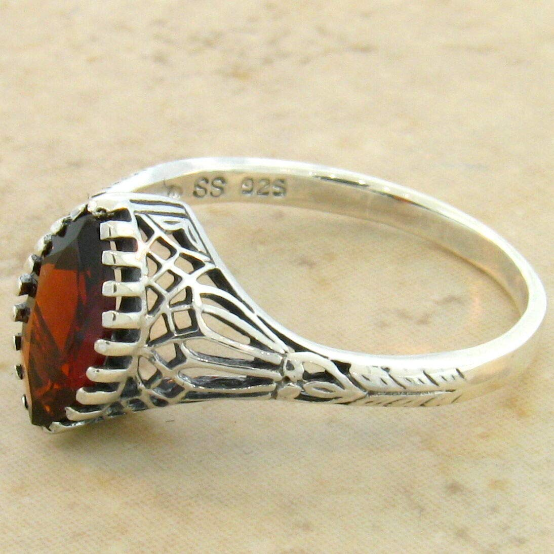 Genuine Garnet .925 Sterling Antique Design Silver Filigree Ring Size 10 KN-2563