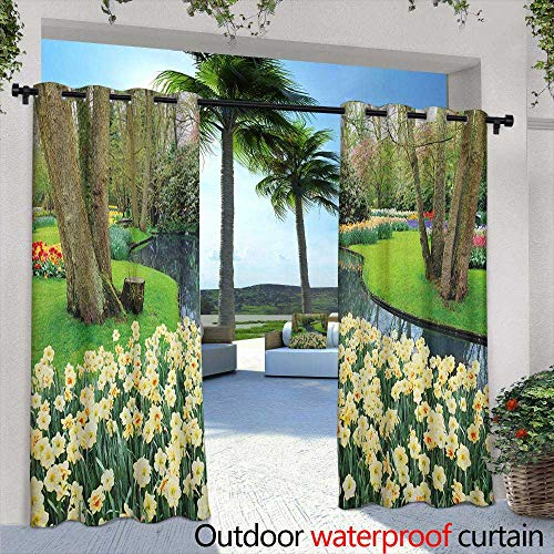 Marilds Spring Doorway Curtain Flower Garden in Recreation Park with Fresh Grass Field and Pond Nature Scene Waterproof Patio Door Panel 108