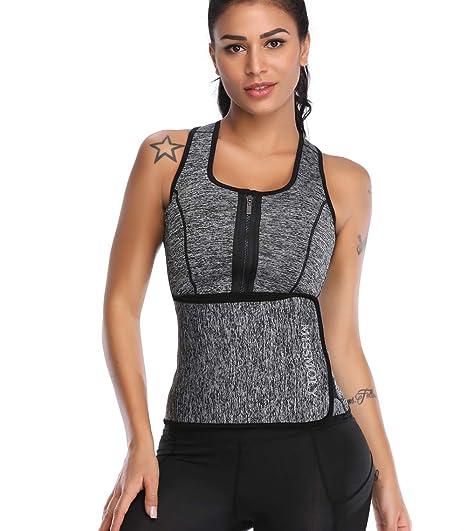 SLIMBELLE Femme Gilet de Sudation Fitness T-Shirt Minceur Sauna Veste en  Néoprène Débardeur avec 7b198060e3b