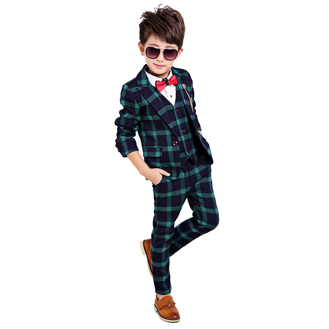 Gele Boy 4 Pieces Plaid Formal Suit Set,Vest+Pants+Blazer+Bow Tie (8, Dark Green)