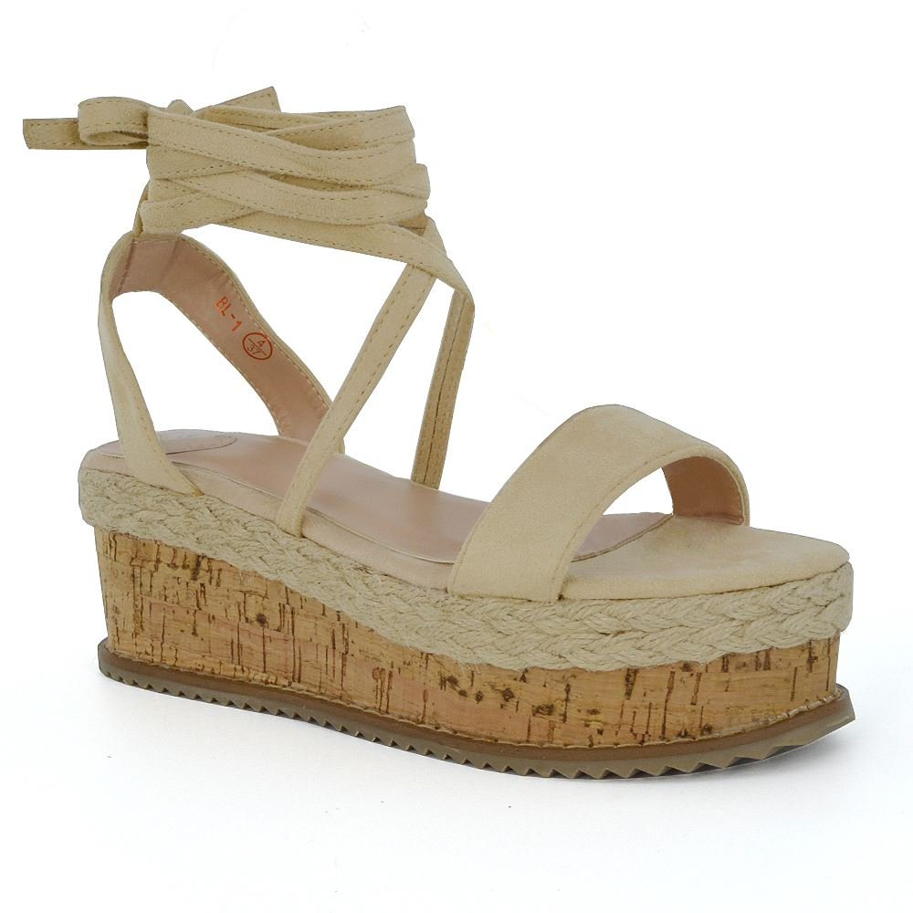 11abcccec67fa ESSEX GLAM WomeESSEX Glam Womens Flatform Wedge Heel Cork Espadrille Sandals  Ladies Ankle Strap Lace Up Shoesns Lace Up Wedge Heel Sandals Espadrilles  ...